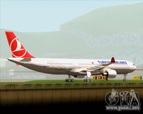 Airbus A330-300 Turkish Airlines para vista inferior GTA San Andreas