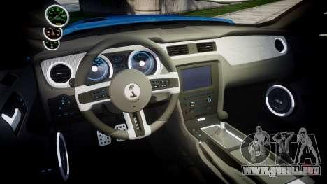 Ford Mustang Shelby GT500 2013 para GTA 4 vista interior