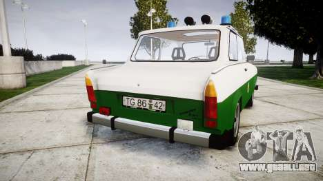 Trabant 601 deluxe 1981 Police para GTA 4 Vista posterior izquierda
