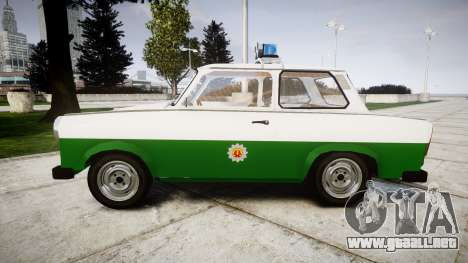 Trabant 601 deluxe 1981 Police para GTA 4 left