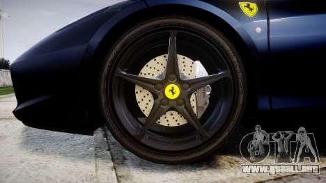 Ferrari 458 Italia 2010 v3.0 Slipknot para GTA 4 vista hacia atrás