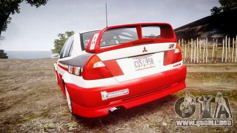 Mitsubishi Lancer Evolution VI Rally Edition para GTA 4 Vista posterior izquierda