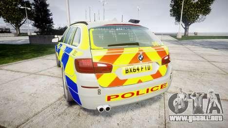 BMW 525d F11 2014 Police [ELS] para GTA 4 Vista posterior izquierda