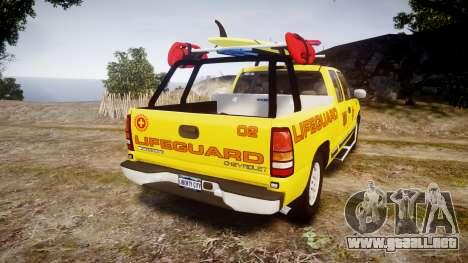 Chevrolet Silverado Lifeguard Beach [ELS] para GTA 4 Vista posterior izquierda