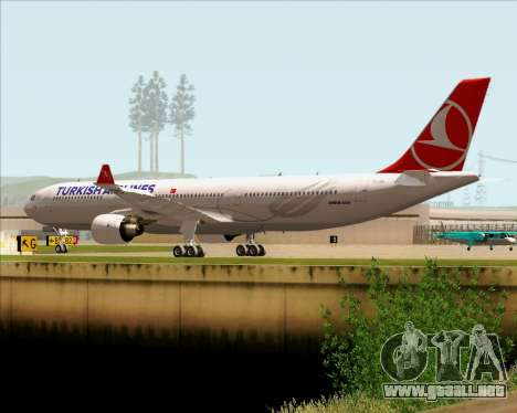 Airbus A330-300 Turkish Airlines para GTA San Andreas vista hacia atrás