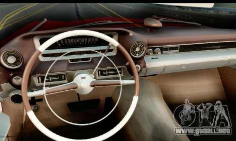 Cadillac Eldorado Biarritz Convertible 1959 para GTA San Andreas vista posterior izquierda