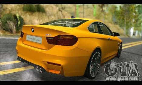 BMW M4 F80 Coupe 1.0 2014 para GTA San Andreas vista hacia atrás