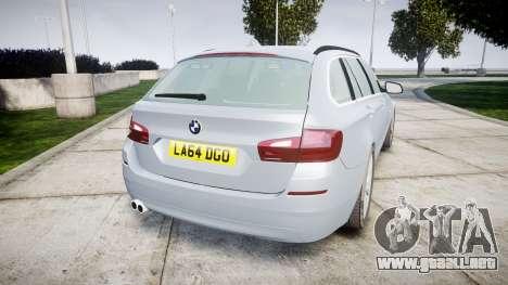 BMW 525d F11 2014 Facelift [ELS] Unmarked para GTA 4 Vista posterior izquierda