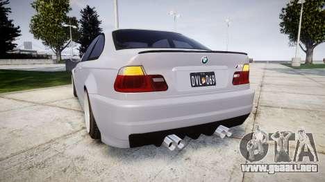 BMW E46 M3 para GTA 4 Vista posterior izquierda