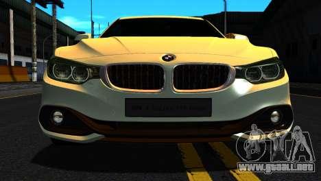 BMW 4-series F32 Coupe 2014 Vossen CV5 V1.0 para GTA San Andreas vista hacia atrás