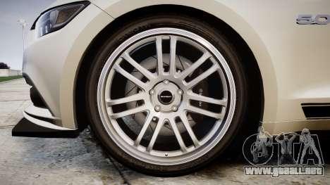 Ford Mustang GT 2015 Custom Kit black stripes gt para GTA 4 vista hacia atrás