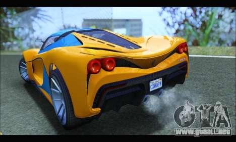 Grotti Turismo R v2 (GTA V) (IVF) para GTA San Andreas vista posterior izquierda