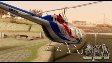 Malaysian Polis Helicopter Eurocopter Squirrel para GTA San Andreas vista posterior izquierda
