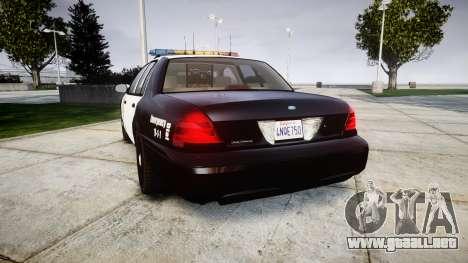 Ford Crown Victoria LAPD [ELS] para GTA 4 Vista posterior izquierda