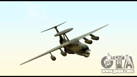 Beriev A-50 Russian Air Force para GTA San Andreas vista posterior izquierda