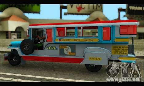 Jeepney Legacy para GTA San Andreas vista hacia atrás