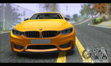 BMW M4 F80 Coupe 1.0 2014 para GTA San Andreas vista posterior izquierda