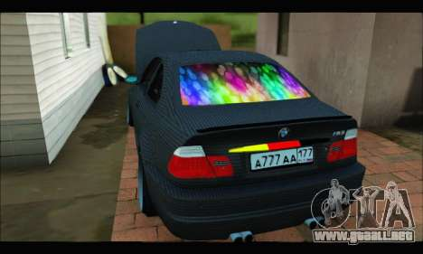 BMW M3 E46 Carbon para GTA San Andreas vista posterior izquierda