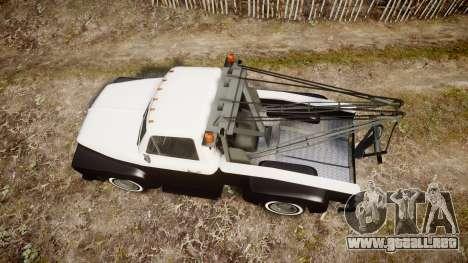 Vapid Towtruck Restored striped tires para GTA 4 visión correcta