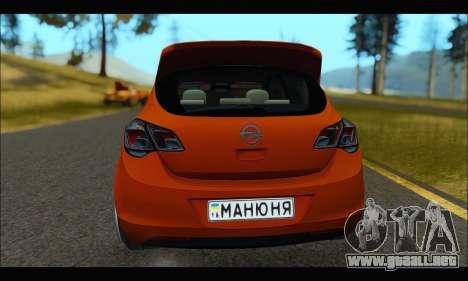 Opel Astra J para GTA San Andreas vista hacia atrás