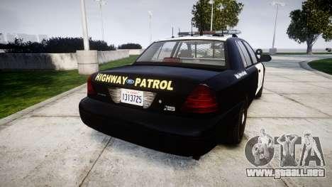 Ford Crown Victoria Highway Patrol [ELS] Liberty para GTA 4 Vista posterior izquierda