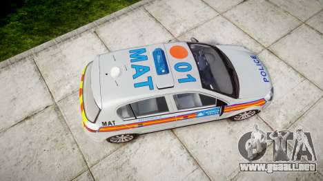 Vauxhall Astra 2005 Police [ELS] Britax para GTA 4 visión correcta
