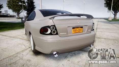 Pontiac GTO 2006 17in wheels para GTA 4 Vista posterior izquierda