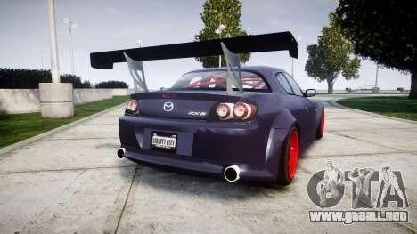 Mazda RX-8 Duck Edition para GTA 4 Vista posterior izquierda