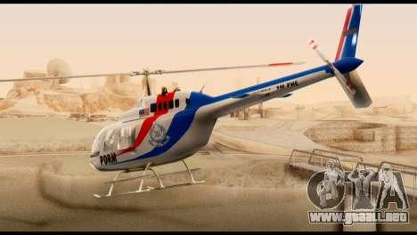 Malaysian Polis Helicopter Eurocopter Squirrel para GTA San Andreas left