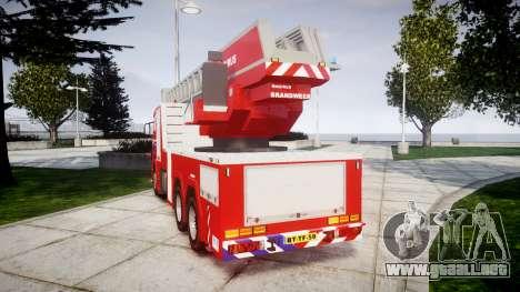 Scania R580 Dutch Fireladder [ELS] para GTA 4 Vista posterior izquierda