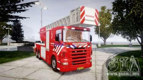 Scania R580 Dutch Fireladder [ELS] para GTA 4