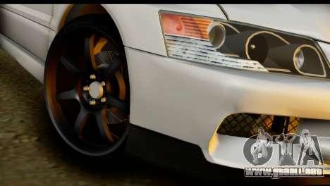 Mitsubishi Lancer Evo IX para GTA San Andreas vista posterior izquierda