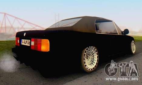 BMW M3 E30 Cabrio para GTA San Andreas vista posterior izquierda