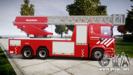 Scania R580 Dutch Fireladder [ELS] para GTA 4 left