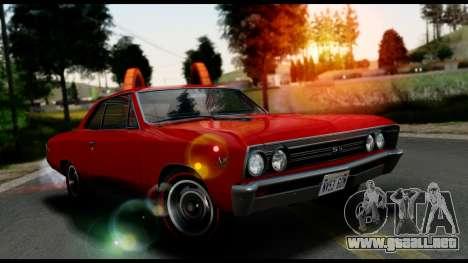 Chevrolet Chevelle SS 396 L78 Hardtop Coupe 1967 para GTA San Andreas vista hacia atrás