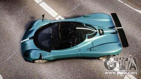 Pagani Zonda Cinque Roadster 2010 para GTA 4 visión correcta