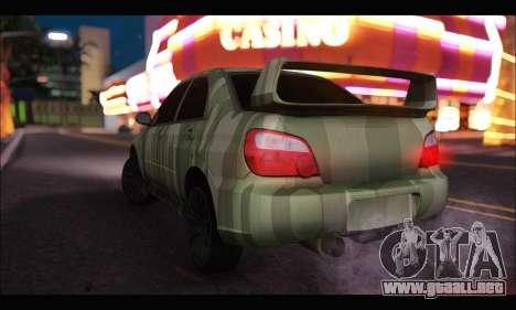 Subaru Impreza WRX Camo para GTA San Andreas vista posterior izquierda