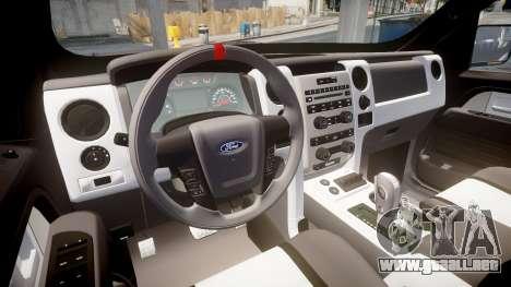 Ford F150 SVT Raptor 2011 Horizon para GTA 4 vista hacia atrás