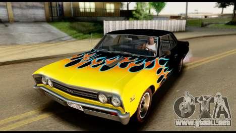 Chevrolet Chevelle SS 396 L78 Hardtop Coupe 1967 para vista inferior GTA San Andreas