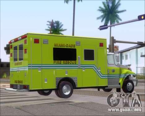 Pierce Commercial Miami Dade Fire Rescue 12 para GTA San Andreas vista posterior izquierda