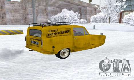 Reliant Supervan Only Fools and Horses para GTA San Andreas vista posterior izquierda