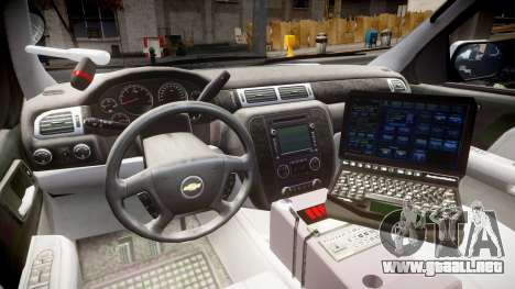 Chevrolet Tahoe 2010 Sheriff Dukes [ELS] para GTA 4 vista hacia atrás