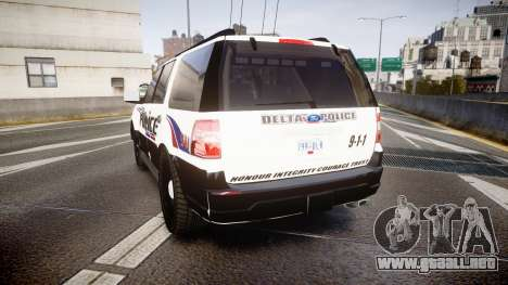 Ford Expedition 2010 Delta Police [ELS] para GTA 4 Vista posterior izquierda