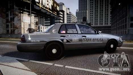 Ford Crown Victoria Sheriff K-9 Unit [ELS] pushe para GTA 4 left