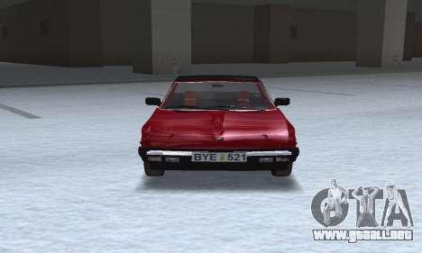 Fiat Bertone X1 9 para GTA San Andreas vista hacia atrás
