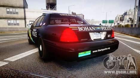 Ford Crown Victoria Sheriff Bohan [ELS] para GTA 4 Vista posterior izquierda