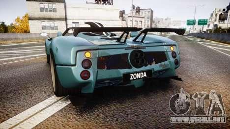 Pagani Zonda Cinque Roadster 2010 para GTA 4 Vista posterior izquierda
