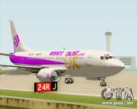 Boeing 737-500 Okay Airways para visión interna GTA San Andreas
