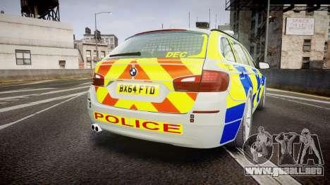 BMW 525d F11 2014 Metropolitan Police [ELS] para GTA 4 Vista posterior izquierda