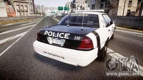 Ford Crown Victoria Sheriff Dukes [ELS] para GTA 4 Vista posterior izquierda